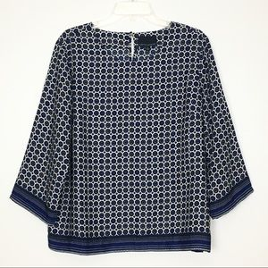 Cynthia Rowley Geometric Floral 3/4 Sleeve Top L